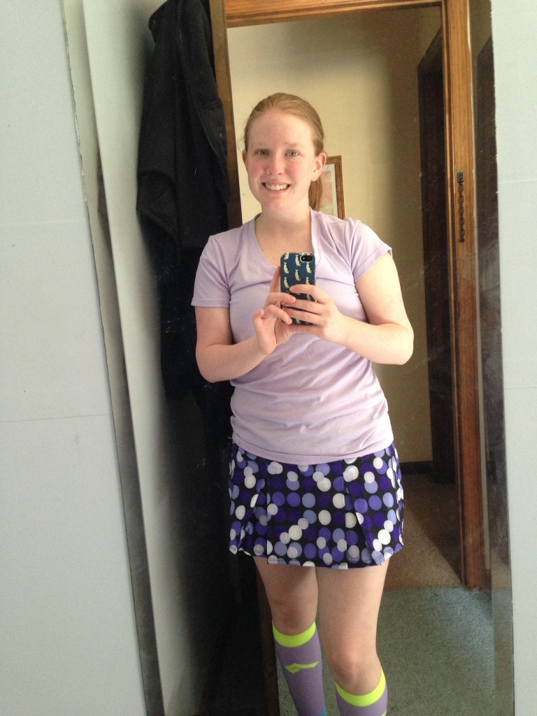 Pardon the puffy eyes. But I really do love my skirt and the purple reminded me not to feel so blue.