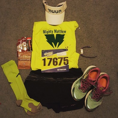Flat Sam is ready for the #biggestloserhalfmarathon tomorrow! #mightymatthew #skirtsports #hshive #nuunbassador #runhappy #REALwomenmove #sweatpink #keepittight